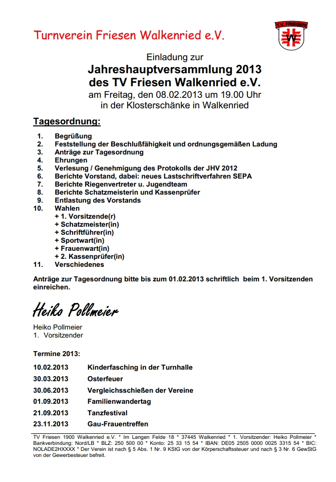 einladung zur jahreshauptversammlung des tv friesen | walkenrieder, Einladung