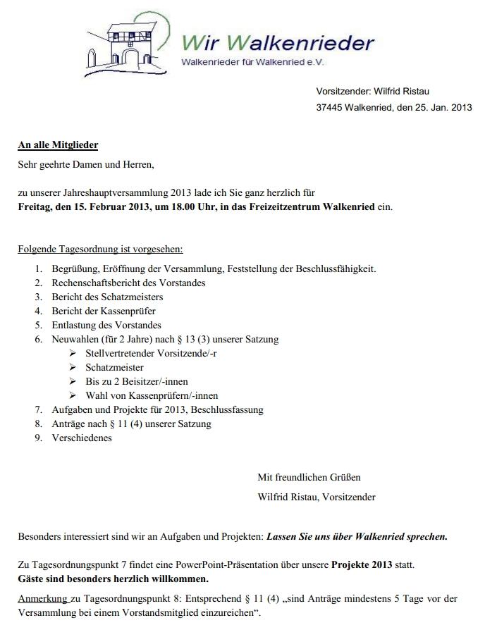 Jahreshauptversammlung Wir Walkenrieder