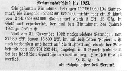 Jahresabschluss 1923