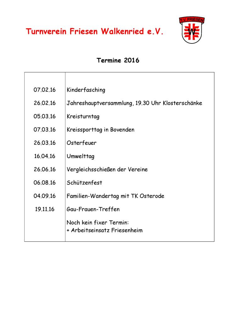 Termine TV Friesen 2016