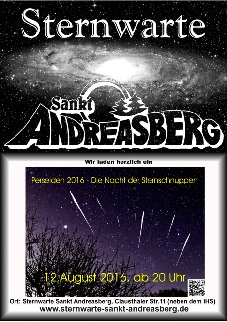 Am 12. August 2016: Perseidennacht in Sankt Andreasberg
