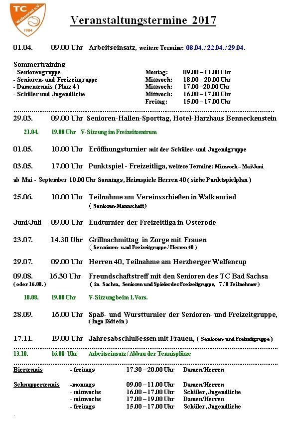 TC Walkenried Termine 2017